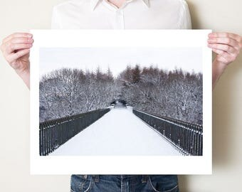 Winter woodland fine art landscape photograph. Narnia artwork print, white snowy forest decor. County Durham, UK. Sizes 5x7, 8x10 to 30x40