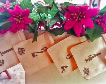 Advent Calendar Bags - Rustic Holiday Decoration - Christmas gifts - 25 days of Christmas - stamped muslin bags