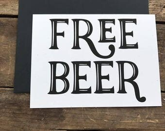 Free Beer Funny Groomsmen Cards with Envelopes, for Groomsman, Best Man, Ring Bearer, Wedding Party, Gift, Greeting Card Snarky Card