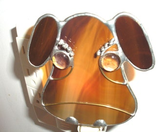 LT Stained glass Brahma cow bull night light lamp brown cattle