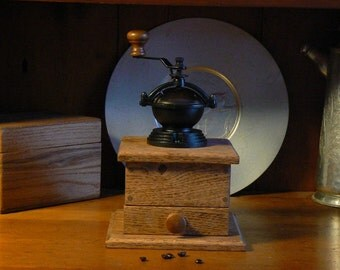 Mechanical Coffee Grinder - Mechanical Coffee Mill - Fresh Ground Coffee - Handmade wooden base - Burr Grinder - Foodie -CG101