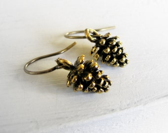 Pinecone Earrings Pine Cone Earrings Tiny Earrings Small Earrings Nature Inspired Jewelry Gift for Teenage Girl Teen Earrings Gift for Teens