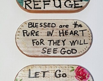 FRIDGE MAGNETS - matt finish quote magnets, Spiritual - Under His Wing you will find REFUGE, Let Go Let God, Blessed are the Pure in Heart
