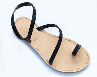 The Adele Sandal - Black snakelike leather