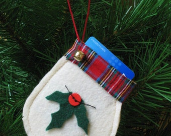 Christmas Gift Card Holder - Ready 2 Ship - Felt Mitten Ornament with Holly Leaves - Christmas Mitten - Off White Felt Ornament
