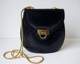 Vintage FRENCHY of CALIFORNIA Small Navy Blue Leather Handbag Gold Chain Strap