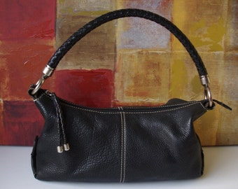 Excellent FOSSIL Handbag Black Leather Shoulder Satchel