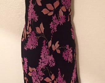Beautiful Silk Floral Black and Purple 90's Flapper Style Jonathan Martin Dress
