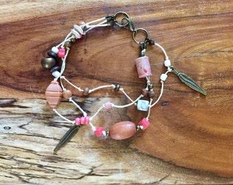 Boho Bracelet in Coral & Antique Gold. Multi stranded bracelet pink bracelet bohemian jewelry gypsy bracelet coral beach jewellery wood rose
