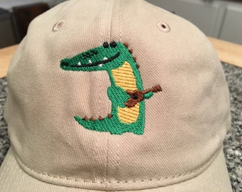 Gator Ukulele / Guitar Embroidered Hat Cap