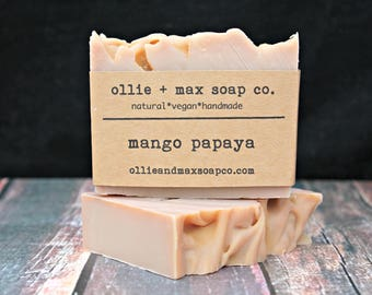 Mango Papaya Soap, Vegan Soap, Natural Soap, Cold Process Soap