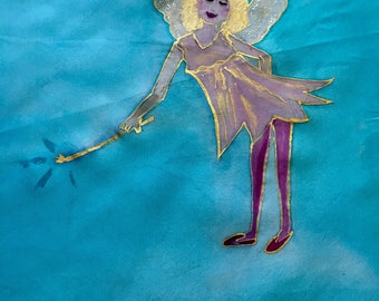 Handpainted Silk Sparkling Angel by The Silk Maid