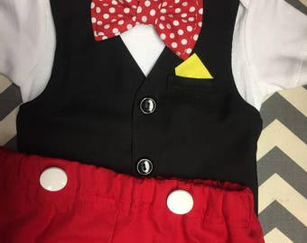 Mickey inspired costume Comfortable Baby Boy Vest/Bow tie short sleeves with Shorts by UltraVioletGirl