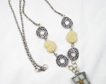 Real Starfish, Nautilus and White Sand Necklace