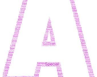 Alphabet Letter personalised word art print