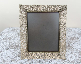 Filigree Metal Frame or vanity tray with glass - 12x10 frame - Hollywood Regency - goldtone w/white wash - 40s-50s