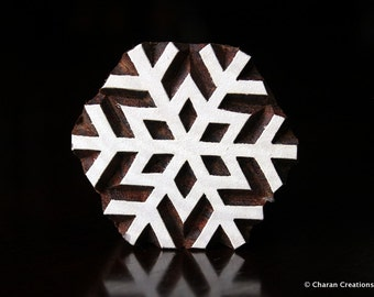 Textile Stamp, Pottery Stamp, Indian Wood Stamp, Tjaps, Blockprint Stamp- Snowflake