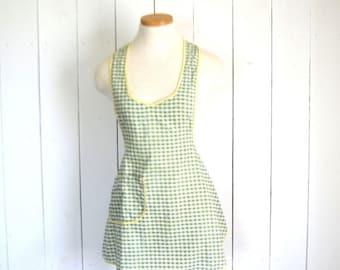15% OFF Gingham Check Apron - 1960s Around the Neck Apron - Vintage Green White Gray Pocket Apron