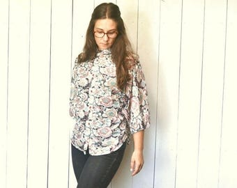 15% OFF - 7 Day Sale Sheer Floral Blouse - Hippie Boho 1960s Dolman Sleeve Top - Vintage Button Up High Collar Loose Fit Top - One Size - S