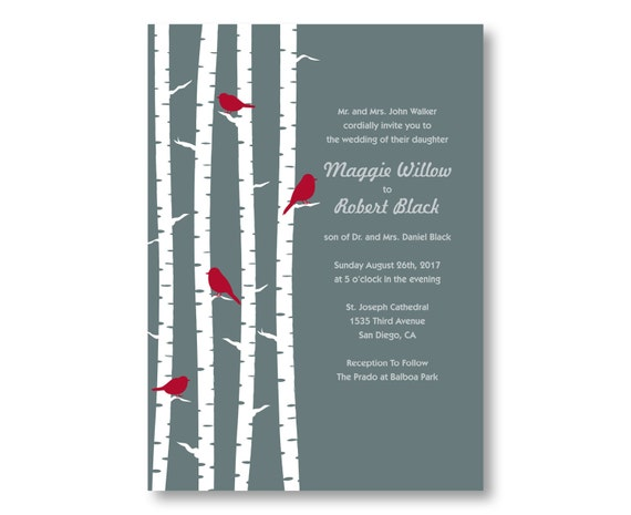 Birch Wedding Invitations, Custom Printed with RSVP Cards and Envelopes, 20 Pieces Per Order