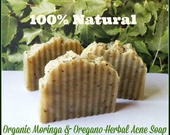 100% Natural Oregano Moringa Organic Shea Soap Bar. Acne Care, Vegan, Gluten Free. Premium Quality. Large 4 to 5 oz Bar