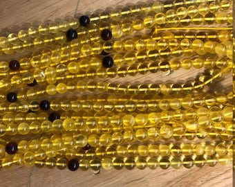 6mm Round Amber AA Grade 108 Beads Semiprecious Gemstone  Jewelry Supply Wholesale Beads