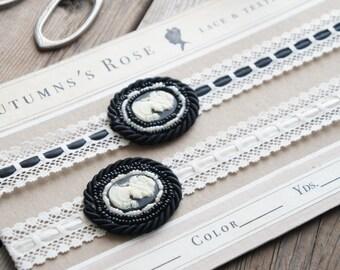 Black & White Cameo Headband - Art Deco Elastic Lace Headband - Black Elastic Cameo Headband Crown - Flapper Headband - 1920's Headband