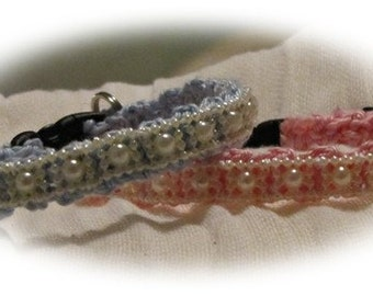 Ellie - Crochet cotton Cat Collar w/ pearl ribbon - unique design, lovely soft and light weight breakaway collar