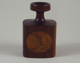 Roger Sloan Turned Walnut Vase With Oak Root Inlay