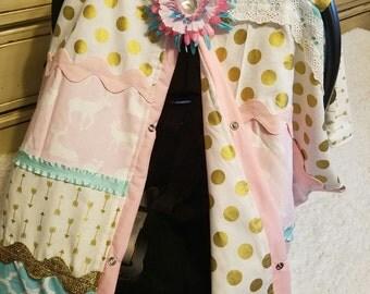 Carseat Canopy Elegant Gold Pink Aqua Buck strip work deer carseat cover girl nursing cover