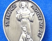 Cherished Saints Saint Francis & Saint Anthony PROTECT my PET Dog and Cat Religious Medal for your Pet