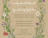Custom Listing for carrie dolashewich Wildflower Invitations, Boho Kraft Paper Wedding Invitation, Greenery - Discount Daisy Flowers
