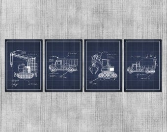 DIGITAL Nursery Wall Art - Bulldozers and Trucks - Construction Themed Nursery - Construction Vehicles - Baby Boy or Kids Room