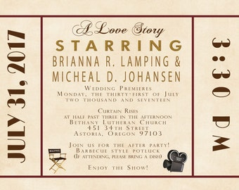 Custom Wedding Invitation Listing for brilamping - Antique Movie Theater - Red and Gold - Old Hollywood