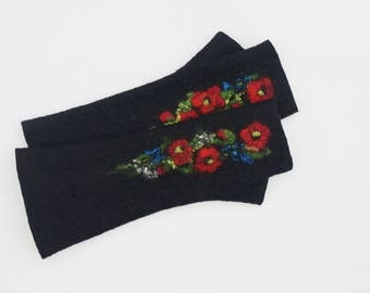 Long Felted Fingerless gloves Fingerless Mittens Arm warmers Gloves Black Poppies