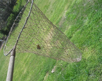 "Vintage Fishing Net with wood handle-Beach Decor/Nautical Decor-57"" long-31""net drop"
