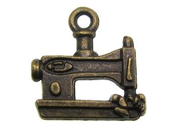 Bronze Charms : 10 Antique Bronze Sewing Machine Quilting Charms   Bronze Sewing Machine Pendants ... Lead, Nickel & Cadmium Free J3B