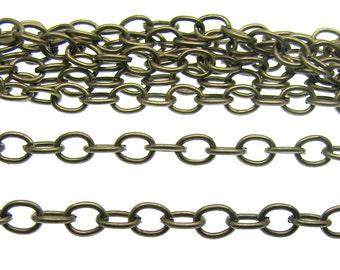 Chain : 16 feet (5 meters) Antique Bronze Cable Chain | Brass Ox Oval Link Chain 4.5mm x 6mm x 1mm -- Lead & Nickel Free 61255
