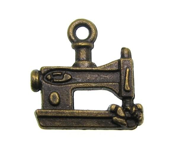 Bronze Charms : 10 Antique Bronze Sewing Machine Quilting Charms | Bronze Sewing Machine Pendants ... Lead, Nickel & Cadmium Free J3B