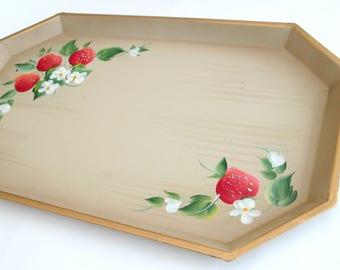 Hand Painted Strawberries Metal Tray // Nashco Octagonal Platter Summer Serving Dining
