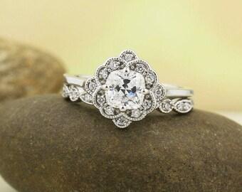 Cushion Forever One Moissanite Colorless Engagement Ring & Diamond Artdeco Wedding band set, Vintage style In 14k White Gold, Gem1433