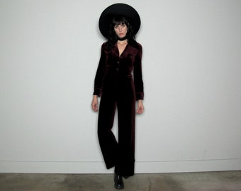 Maroon VELVET JUMPSUIT 70s Vintage Wide Leg Long Length Collar Womens Size S/M