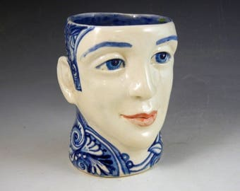 Porcelain face cup  blue and white with ears OOAK hand made