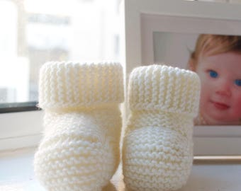 Cream Baby Booties Stay On booties knitted booties newborn