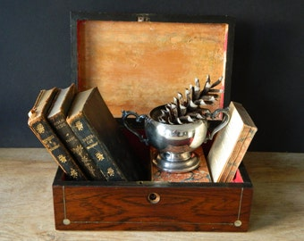 Antique Leather Books. Classic Literature. Victorian Library. Thackeray, George Eliot. Book Bundle. Cottage Decor.