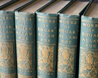 Edgar Allan Poe Book Set. Rare antique volumes, circa 1910. Instant Library in Emerald and Gold. Home Decor. Victorian. Traditional.