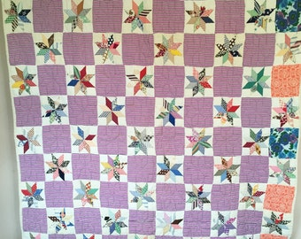 Antique VINTAGE Quilt 8-Point STARS Huge variety of 1950's Fabrics GORGEOUS!