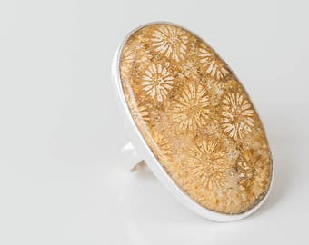 RESERVED. Fossilized Coral Sterling Silver Ring. RESERVED.