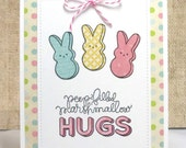 Easter Peeps Card- Hugs Card- Easter Cards- Easter Bunnies- Spring Card- Easter Peeps- Kids Easter Card