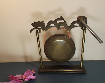 Brass table etched dragon gong,bell, Hong Kong.Plate on stand with hammer or mallet .Home decor.office decor. office bell Gift